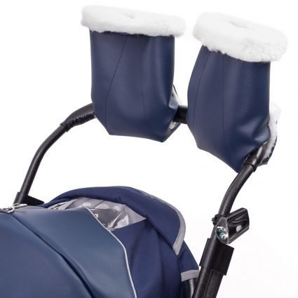 """Санки-коляски Pikate Deluxe «Sapphire» (морозостойкая экокожа, овчина, 3 положения спинки, краска рамы """"черный металлик"""")"""